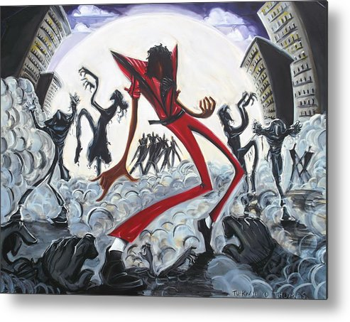 Thriller Metal Print featuring the painting Thriller V2 by Tu-Kwon Thomas