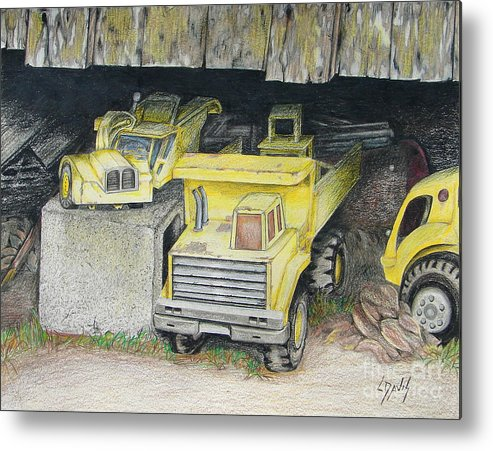 Barn Metal Print featuring the drawing Treasures Under The Barn by Lew Davis