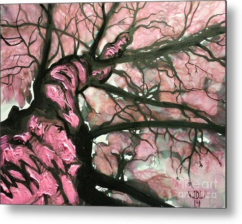 Landscape Metal Print featuring the painting Tree Of Pink by Jonni Lavertu