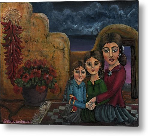 Mom Metal Print featuring the painting Tres Mujeres Three Women by Victoria De Almeida
