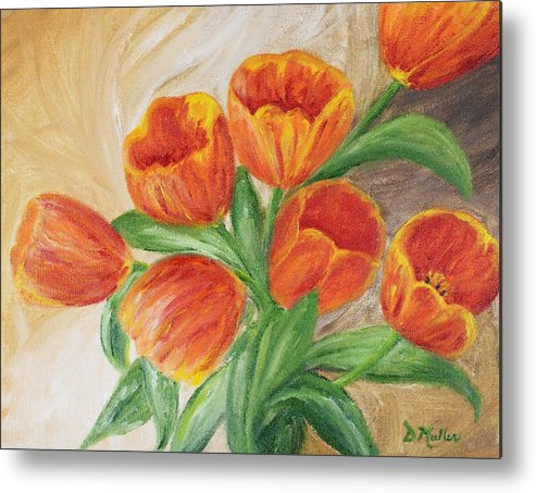 Spring Metal Print featuring the painting Tulips by Donna Muller