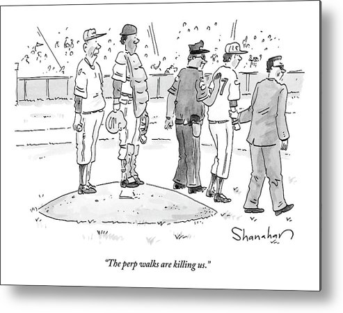Baseball Metal Print featuring the drawing Two Cops, One In Plain Clothes, Arrest A Pitcher by Danny Shanahan