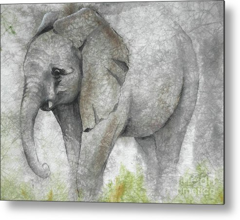 Elephant Metal Print featuring the painting Vanishing Thunder Series-baby Elephant I by Suzanne Schaefer