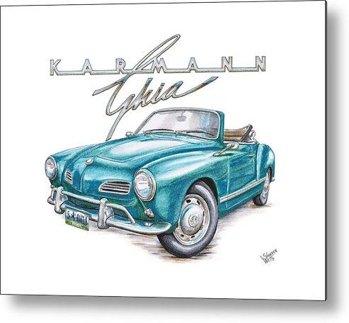 Volkswagon Metal Print featuring the drawing Volkswagon Karmann Ghia by Shannon Watts