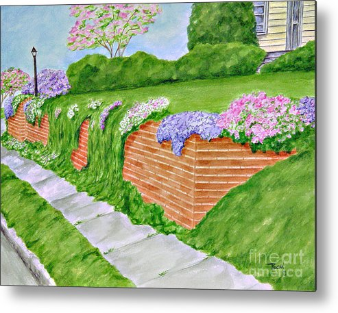Landscape Metal Print featuring the painting Wall Of Flowers by Regan J Smith