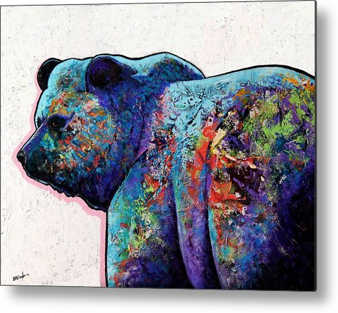 Wildlife Metal Print featuring the painting Watchful Eyes - Grizzly Bear by Joe Triano