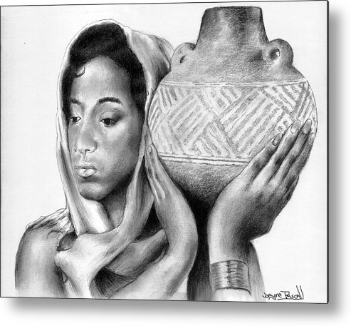 African Metal Print featuring the drawing Water From The Well by Wayne Pascall