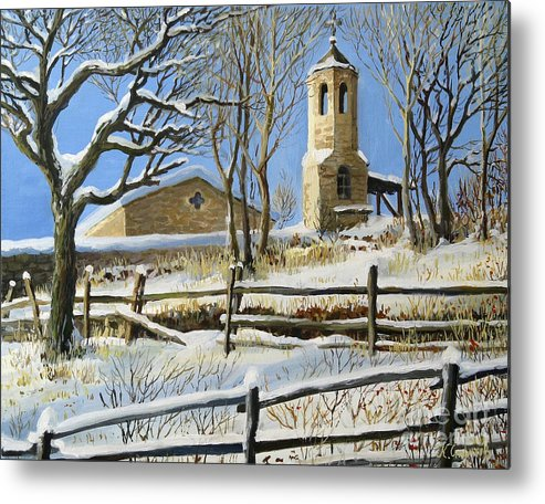 Architecture Metal Print featuring the painting Winter In Stoykite by Kiril Stanchev
