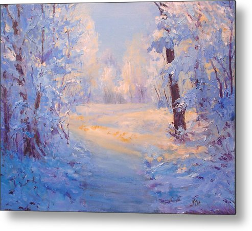 Landscape Metal Print featuring the painting Winter Path. by Julia Utiasheva