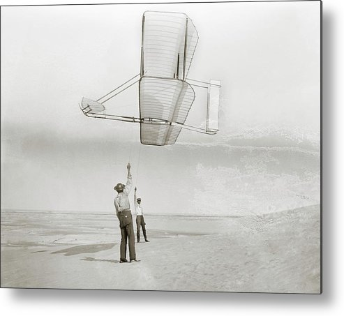Wilbur Wright Metal Print featuring the photograph Wright Brothers Kitty Hawk Glider by Library Of Congress