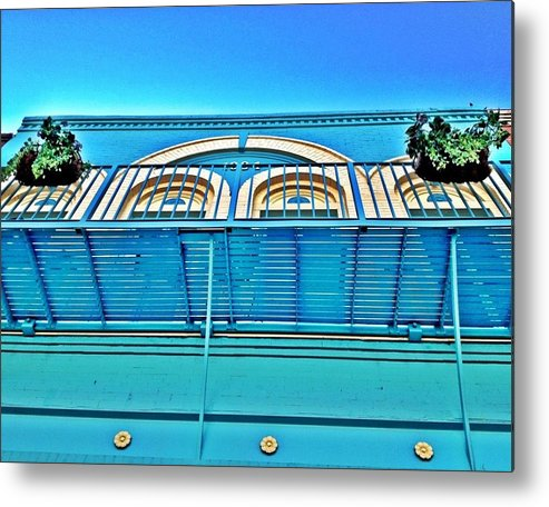 Blue Metal Print featuring the photograph Yazoo City New Orleans Style by Michele Monk