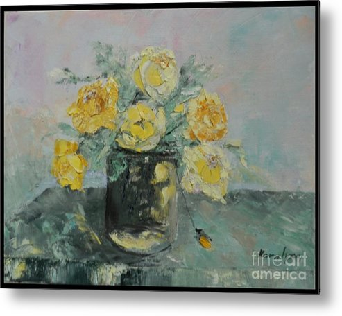 Yellow Roses Metal Print featuring the painting Yellow Roses by Maria Karalyos
