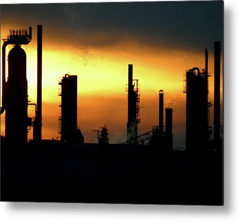 Horizontal Metal Print featuring the photograph Refinery by Jack Dagley