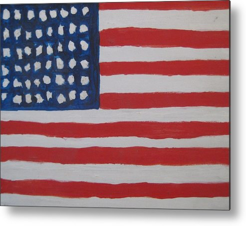 Flag Metal Print featuring the painting Untitled by Iris Gill
