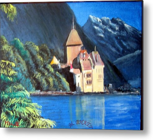 Castle Metal Print featuring the painting Chillon Castle by M Bhatt