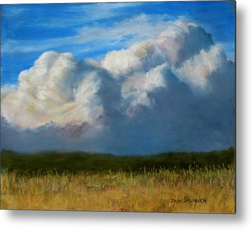 Clouds Metal Print featuring the painting Clouds Over The Meadow by Jack Skinner