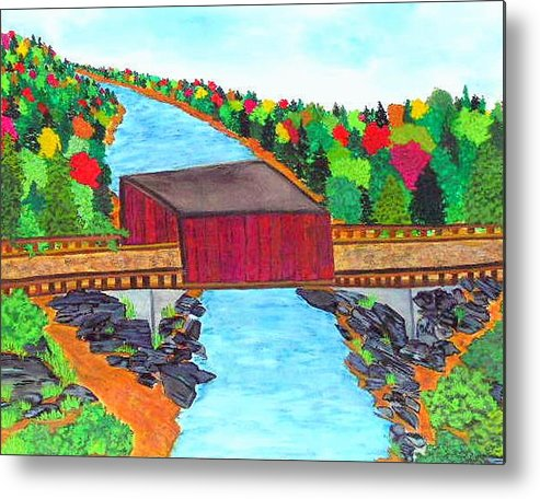 Scenery Metal Print featuring the painting Covered Bridge by Katina Cote