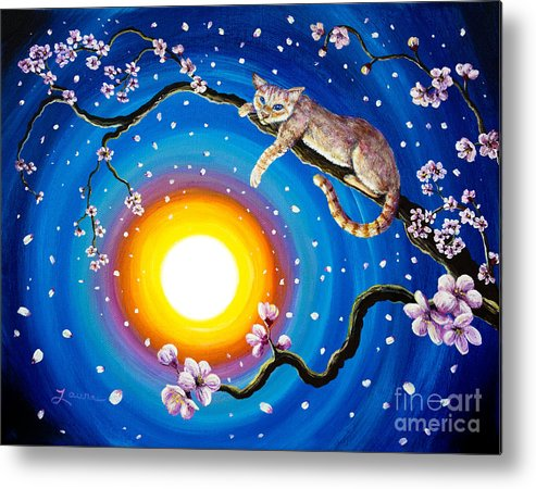 Flame Point Metal Print featuring the painting Flame Point Siamese Cat In Cherry Blossoms by Laura Iverson