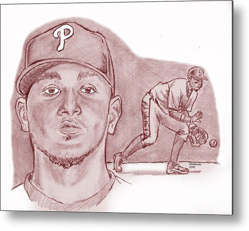 Metal Print featuring the drawing Freddy Galvis by Chris DelVecchio