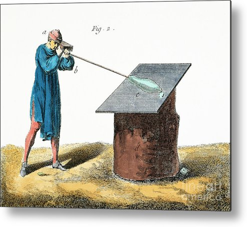18th Century Metal Print featuring the photograph Glassblower, 18th Century by Granger