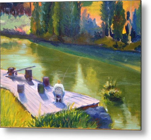 Landscape Metal Print featuring the painting Gone Fishing by Judy Howard