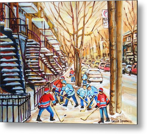Montreal Metal Print featuring the painting Hockey Game Near Winding Staircases by Carole Spandau