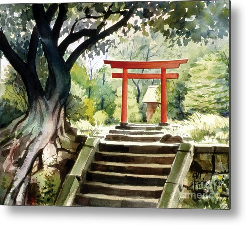 Landscape Metal Print featuring the painting Japanese Tori by Phil Hopkins