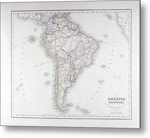 Horizontal Metal Print featuring the digital art Map Of South America by Fototeca Storica Nazionale