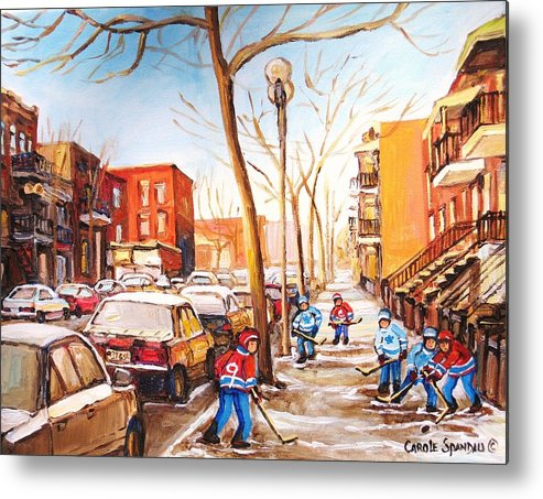 Montreal Street Scene With Boys Playing Hockey Metal Print featuring the painting Montreal Street With Six Boys Playing Hockey by Carole Spandau