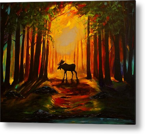 Moose Metal Print featuring the painting Moose Sunset by Leslie Allen