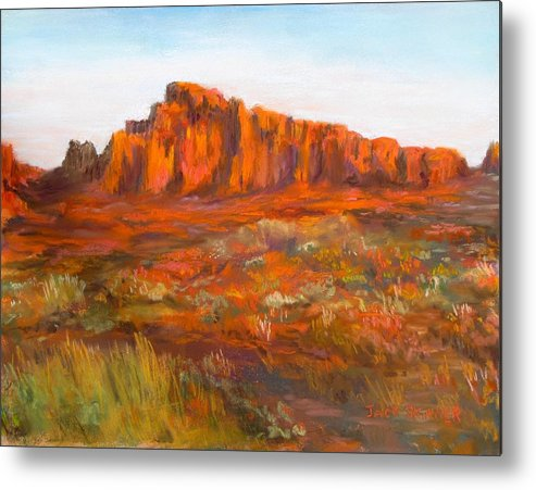 Red Cliffs Metal Print featuring the painting Red Cliffs by Jack Skinner