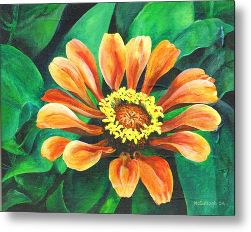 Floral Lilly Oranges Ruth Metal Print featuring the painting Ruth's Lilly by William McCullagh