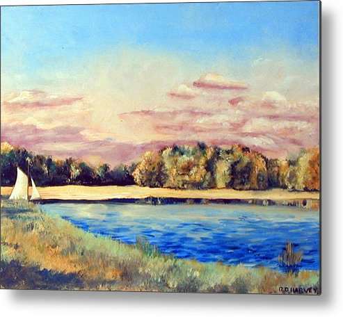 Sailboat Metal Print featuring the painting Sailboat by Robert Harvey