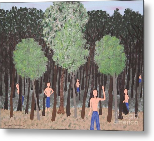 American Indians Metal Print featuring the painting Six Little Cherokee by Gregory Davis