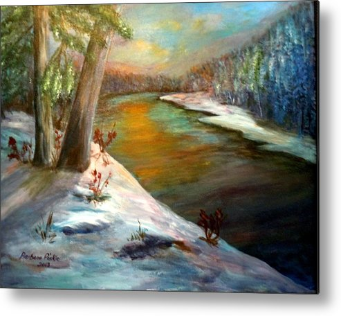 Winter Metal Print featuring the painting Snow At Sunrise by Barbara Pirkle