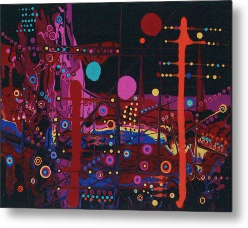 Abstract-expressionism Metal Print featuring the painting Sometimes I Even Dream In Neon by Charlotte Nunn