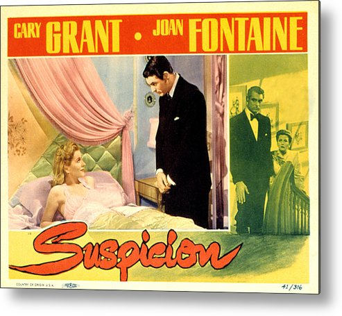 1940s Movies Metal Print featuring the photograph Suspicion, Joan Fontaine, Cary Grant by Everett