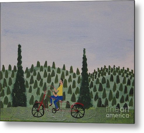 National Park Metal Print featuring the painting The Bike Rider by Gregory Davis