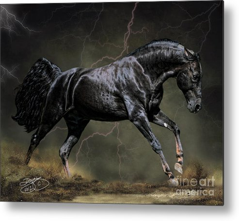 Horse Metal Print featuring the digital art The Black by Dawn Young
