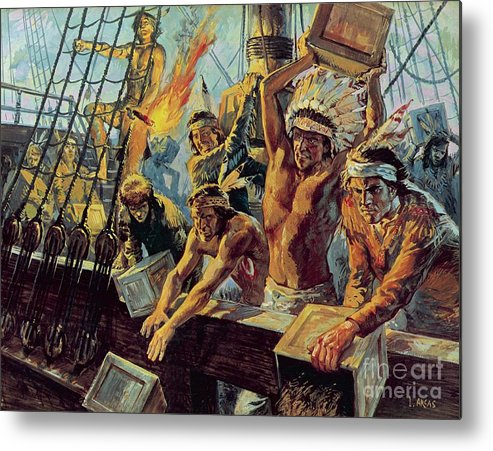 The Boston Tea Party; Dressed Up; Red Indians; Tea; Duties; American War Of Independence; Rebellion; Americans; Night; Head Dress; Red Indians; American Native Indians Metal Print featuring the painting The Boston Tea Party by Luis Arcas Brauner