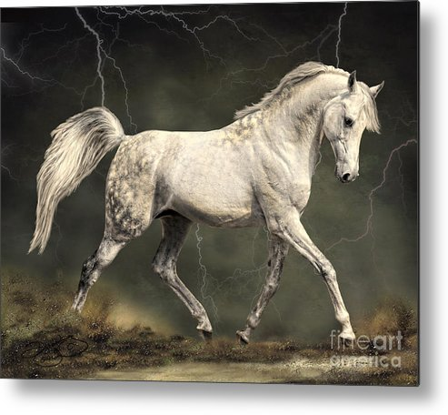 Horse Metal Print featuring the digital art The Gray by Dawn Young