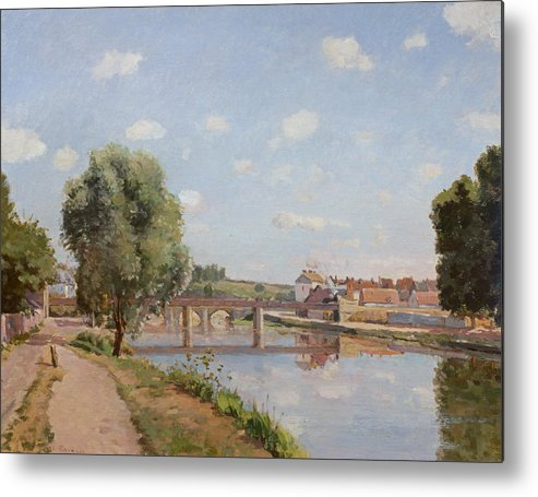 The Metal Print featuring the painting The Railway Bridge by Camille Pissarro