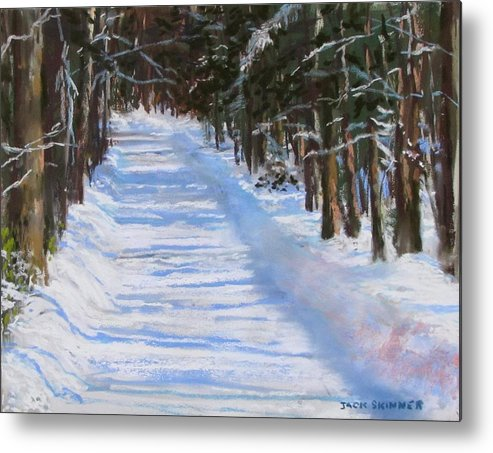 Snow Metal Print featuring the painting The Valley Road by Jack Skinner