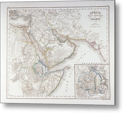 Horizontal Metal Print featuring the digital art West Africa And Arabia by Fototeca Storica Nazionale