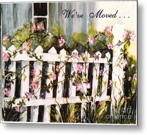We've Moved Rose Garden Card Prints Metal Print featuring the painting We've Moved by Pati Pelz