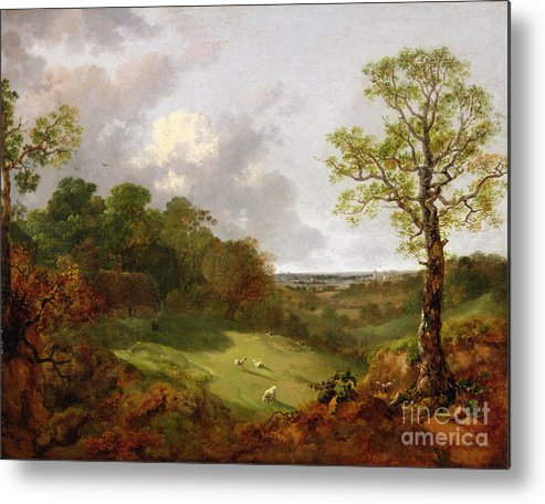 Wooded Metal Print featuring the painting Wooded Landscape With A Cottage - Sheep And A Reclining Shepherd by Thomas Gainsborough