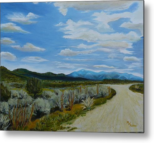 New Mexico Landscape Metal Print featuring the painting You Take The High Road.... by Mark Malone
