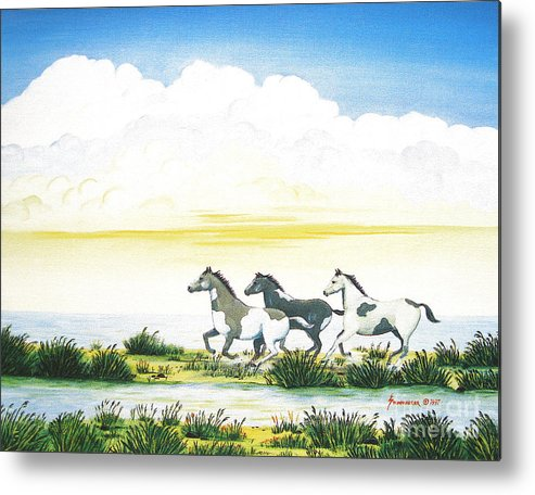 Chincoteague Metal Print featuring the painting Indian Ponies by Jerome Stumphauzer