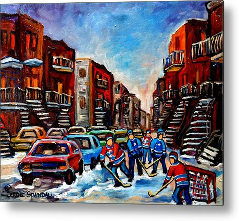 Montreal Metal Print featuring the painting Late Afternoon Street Hockey by Carole Spandau