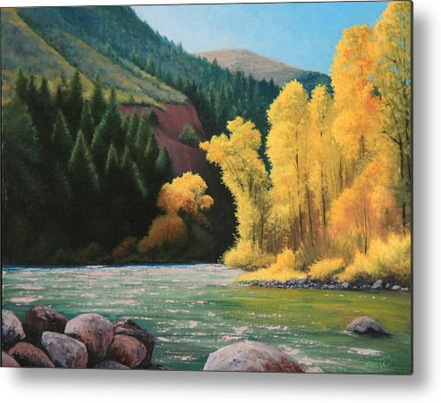 Landscape Metal Print featuring the painting 031008-1620  Fall Wardrobe by Kenneth Shanika